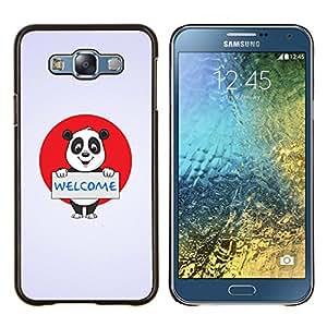 /Skull Market/ - Friendly Welcome Panda Sign For Samsung Galaxy E7 E7000 - Mano cubierta de la caja pintada de encargo de lujo -