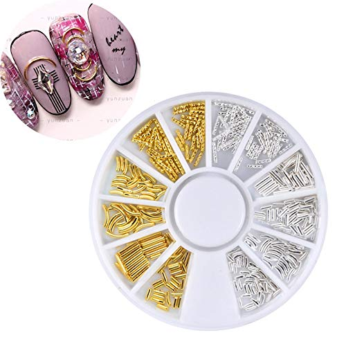 (Kamas Gold and Silver Curved Metal Deco French Style Nail Studs DIY Manicure Design Tools3D Nail Art Decoration in Wheel)