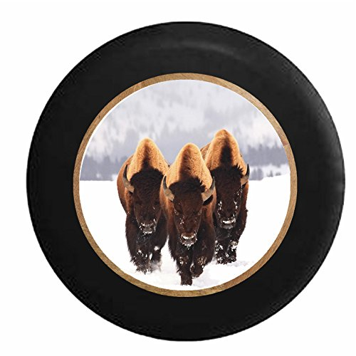 (Full Color Great Bison Trio in the Snowy American Plains Jeep RV Camper Spare Tire Cover Black 35 in)