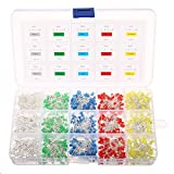 Light Emitting Diodes, Elfeland 750pcs 3mm 2Pin LED Lamp Assorted Diffused LED Kit White Yellow Red Blue Green for Arduino & DIY (5 colors x 150pcs)