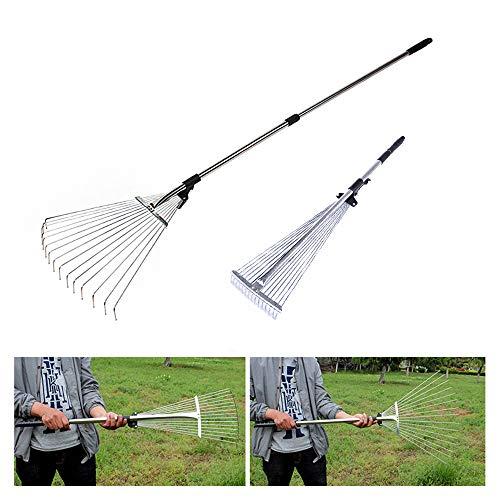 Garden Rakes Metal for Lawns Grass Leaf Rake Yard Leaves Adjustable Rakes Telescopic Handle│7
