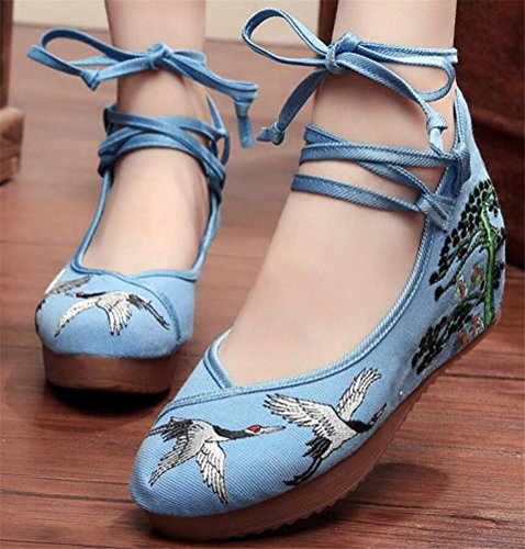 Satuki Brodert Sko For Kvinner, Kinesisk Stil Håndlagde Uformell Loafer Floral Mid Hæl Walking Sko Blå