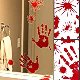 Adorox Red Graphic Hand Print Bloody Paint Drip Splatter Window Cling Vinyl Halloween Decal Sticker Zombi Vampire Decoration Party Favors Prop Sheet (1 Pack (23 Pieces))