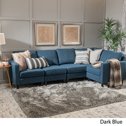 GDF Studio 300116 Carolina Dark Blue Fabric Sectional Sofa,
