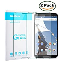 [2 Pack] Innker Touch Sensitive Tempered-Glass Screen Protector for Motorola Nexus 6 [9H Hardness] [Premium Crystal Clear] [Scratch-Resistant] [No-Bubble Installation],Lifetime Warranty