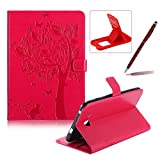 Flip Case for Samsung Galaxy Tab A 7.0 SM-T280,Smart Leather Cover for Samsung Galaxy Tab A 7.0 SM-T280,Herzzer Retro Pretty Tree Butterfly Cat Design Wallet Folio Case Full Body PU Leather Protective Stand Cover with Inner Soft Silicone Shell for Samsung Galaxy Tab A 7.0 SM-T280 + 1 x Free Black Cellphone Kickstand + 1 x Free Black Stylus Pen