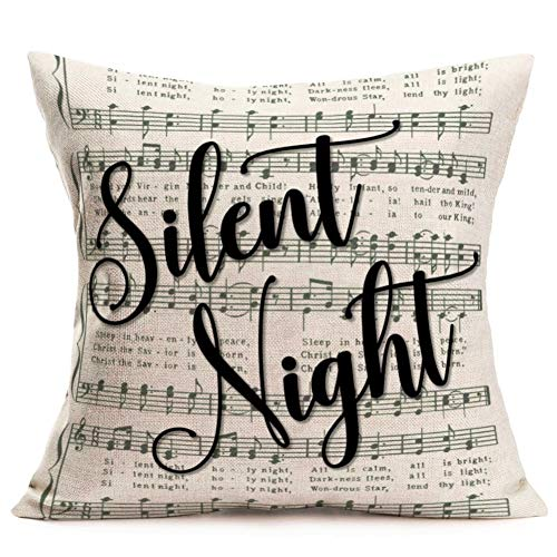 Throw Pillow Covers Vintage Musical Notation Background with Silent Night Quote Words Decorative Pillow Covers Christmas Music Song Cushion Cover 18