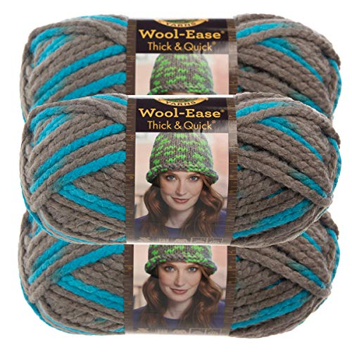 - Lion Brand Yarn (3 Pack Wool Ease Super Chunky Yarn for Knitting Crocheting Soft Blue Jay Yarn Bulky #6