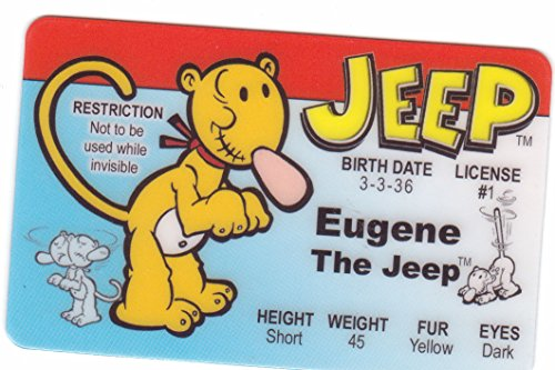 Eugene the Jeep From Popeye the Sailor Man Novelty Drivers License / Fake I.d. Identification for Popeye and Friends / Sweet Pea Fans by -