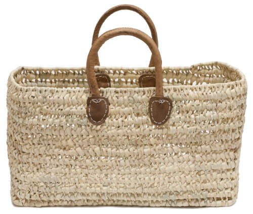 Moroccan Straw Tote Bag w/ Brown Leather Handles, 19
