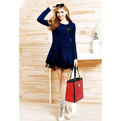 Trend Star Mujeres diseñador hombro Bolsos Mujer berühmtheit estilo piel sintética Tragetaschen F - Red