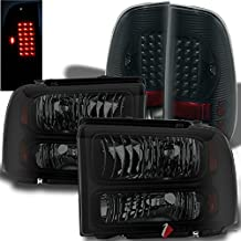 For 2005-2007 Ford F250/F350/F450 Super Duty Midnight Black Smoked Headlights + LED Tail Lights 2006