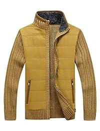 LOG SWIT Mens Zipper Knitwear Patchwork Sweatercoat Fashion Plus Size M-XXXL Men