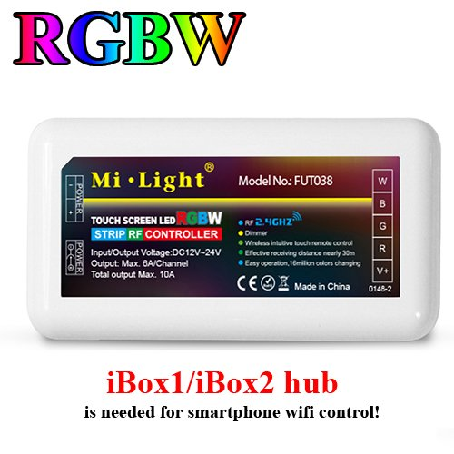 Led Receivers - Mi.Light RGBW LED Strip 2.4GHz RF Wireless 4-Zone Controller Receiver Box DC 12-24V,[Must] Work With RGBW 4-Zone Remote,B3 T3 Panel Or Smartphone APP Control Via WiFi iBox1/iBox2 Hub