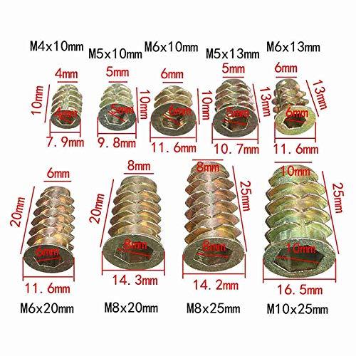 M5*7 Insertos Roscados de Lat/ón Tuercas Integradas de Inserci/ón de Moldeo por Inyecci/ón Redondas 10 YOFASEN 50 Piezas de M5 Tuercas de Inserci/ón Roscadas Moleteadas Hembra