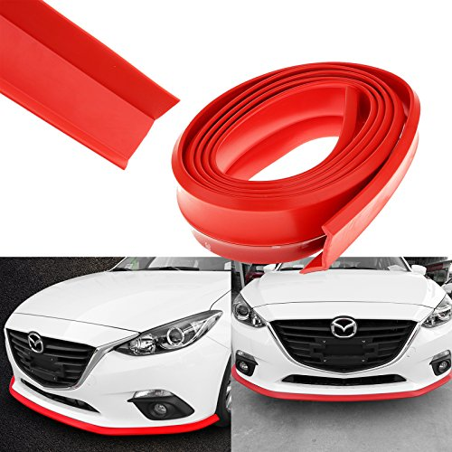 1x Hot Red PU Front Bumper Lip Universal Splitter Chin Spoiler Racing Sporty Body Kit Trim (8ft) (Sporty Body)