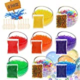 U-Goforst Water Beads Pack (80000 Small Beads/ 50 Giant Beads/10 DIY Stress Balloons) Spa Refill Sensory Kids Toys Growing Balls Orbies Ice Jelly Water Gel Bead Plants Vases and Decoration