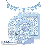 The Golden Choice - 32 Guests Baby Shower Plates Large/Small, Cups, Napkins, & Banner Party Set/Supplies Decorations or Gender Reveal - 129 Pieces ''It's A Boy'' (Blue) - Bundle
