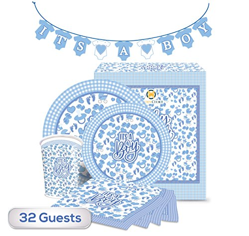 New Baby Boy Plate (The Golden Choice - 32 Guests Baby Shower Plates Large/Small, Cups, Napkins, & Banner Party Set/Supplies Decorations or Gender Reveal - 129 Pieces