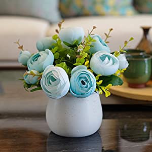 XHOPOS HOME Artificial Flowers Living Room Bedroom European Style Ceramic Vase Potted Plants Wedding Blue Camellia Decorative Fake Flowers For Home Party and Garden Decor 95