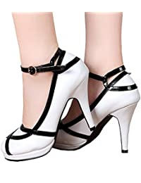 Women's Vintage Retro Black and White Ankle Strappy Buckle Dress High Heels