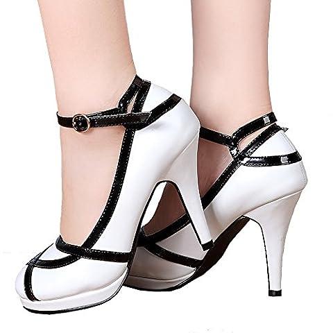 Getmorebeauty Women's Vintage Retro Two Tones White And Black Buckle Dress High Heels 8 B(M) US