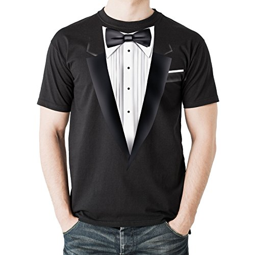 NEW - Black Tuxedo - Men's Black Cotton T-Shirt - Top Quality - Fancy Dress (XXX-Large)