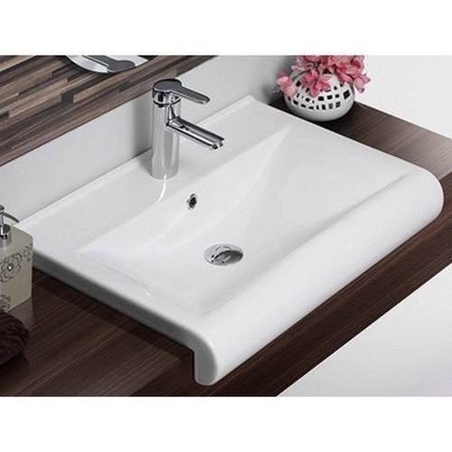 CeraStyle 061500-U-One Hole Side Rectangle Ceramic Wall Mounted/Semi Recessed Sink, White