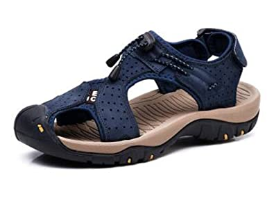 22e1f5409e0b9 ZHShiny Men s Sports Sandals Outdoor Summer Fisherman Shoes Leather Closed  Toe Hiking Casual Sandal Blue