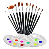 TedGem 12 pcs Artist Brushes with 2 pcs Paint Pallet,Acrylic Paint Kit for Watercolor, Acrylic & Oil Paintings Face Painting