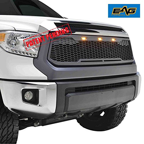 EAG Replacement Tundra ABS Grille - Charcoal Gray - With Amber LED Lights for 14-18 Toyota Tundra