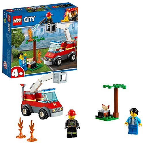 LEGO City Fire Barbecue Burn Out Truck Toy, 2 Minifigures & Accessories, Fire Trucks for Kids