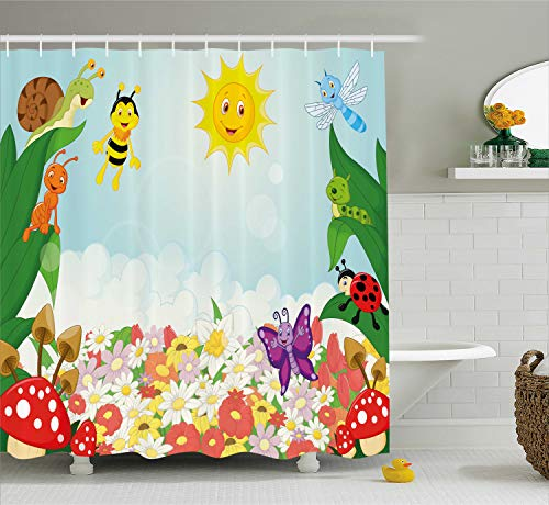 Ambesonne Kids Shower Curtain, Bee Butterfly Ant Ladybug Snail Floral Mushroom Caterpillar Baby Animal Spring Image, Fabric Bathroom Decor Set with Hooks, 70 Inches, -