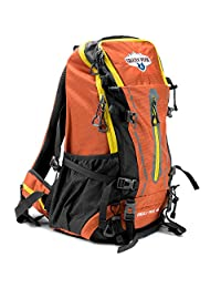 Grizzly Peak SOEQ-101 Internal Frame Hiking and Camping Day Backpack, Orange, 45 L