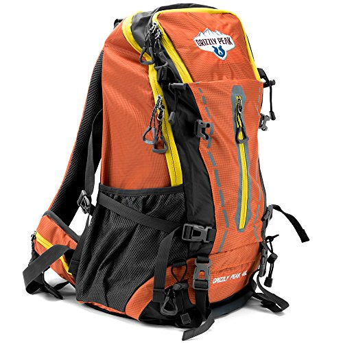 45L Internal Frame Hiking and Camping Daypack Backpack with Ripstop Water-Resistant Nylon by Grizzly Peak (Internal Stop)