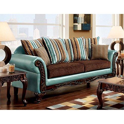 Furniture of America Wuni Sofa in Teal and Brown