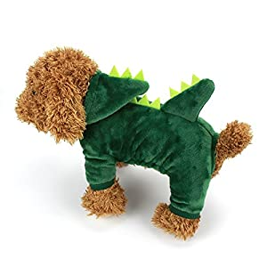 Dogs Clothes Small Pet Costume Halloween Dinosaur Costume Dog Clothing Puppy Outfits Funny Apperal (L)