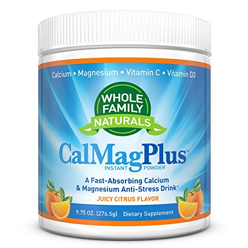 Calcium Magnesium Powder Supplement - CalMag Plus with Vitamin C & D3 - Gluten Free, Non GMO, Orange Tangerine Flavor - Natural Calm & Stress Relief Cal Mag Drink