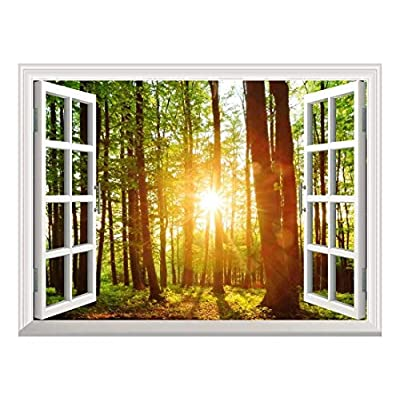 Removable Wall Sticker Wall Mural Majestic Sunset in the Forest Creative Window View Wall Decor, Classic Artwork, Stunning Work of Art
