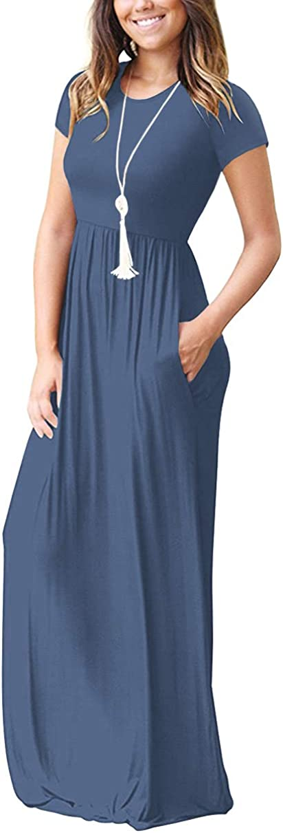 HAOMEILI Womens Casual Long//Short Sleeve Maxi Dress with Pockets