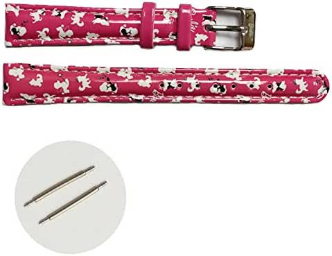 14mm Cute Kid's Magenta Print white Pattern Girls Watch Band Straps USWB1015C14FB