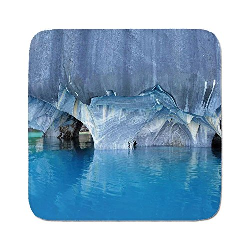 Cozy Seat Protector Pads Cushion Area Rug,Blue,Marble Cave General Carrera Lake in Chile Natural Wonders Rocks Azure Water,Blue Purplegrey White,Easy to Use on Any Surface