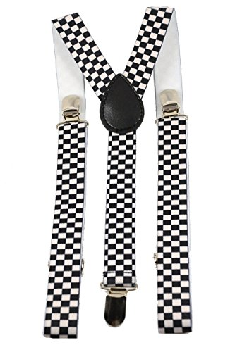 Youth Black and White Checkered Suspenders (Boys Checkered Suspenders)