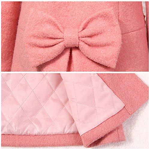 LSERVER Girl's Elegant Faux Fur Woolen Collar Fashion Warm Blended Winter Coat Lace Flower Princess Bowknot Jacket Pink by LSERVER (Image #7)