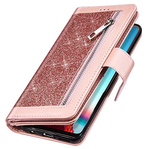 Price comparison product image MoreChioce Compatible with Samsung Galaxy A70 Leather Glitter Case, Luxury Premium Synthetic Leather Zipper Pocket Design [9 Card Slots] Wallet Flip Case Handbag With Hand Strap, (Rose Gold)