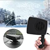 Portable Car Fan Heater ixaer Heater Defroster with 12V 150W Swing-out Handle 2 in 1 Handy Winter Auto Electronic Windscreen Heater Fan Defroster Demister - Blow Natural Wind