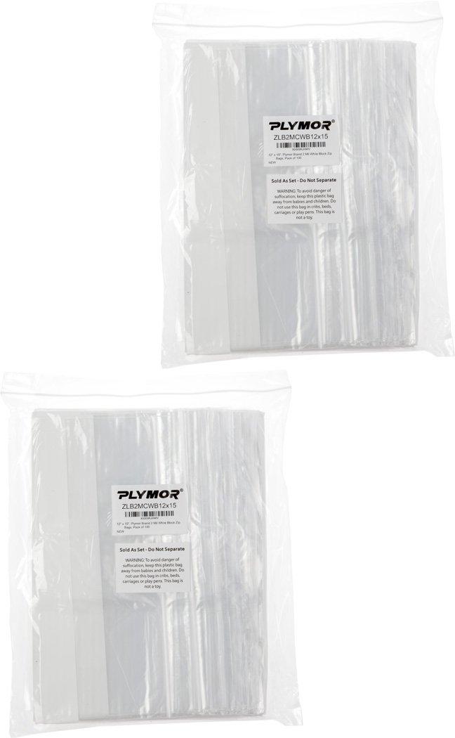 Plymor 12'' x 15'', 2 Mil (Pack of 200) Zipper Reclosable Plastic Bags w/White Block