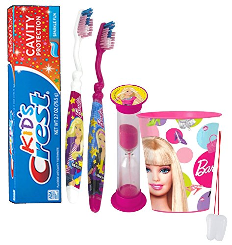 "Barbie Girl 5pc Bright Smile Oral Hygiene Set! Soft Manual Toothbrush, Toothpaste, Brushing Timer & Mouthwash Rinse Cup! Plus Bonus ""Remember To Brush"" Visual Aid!"