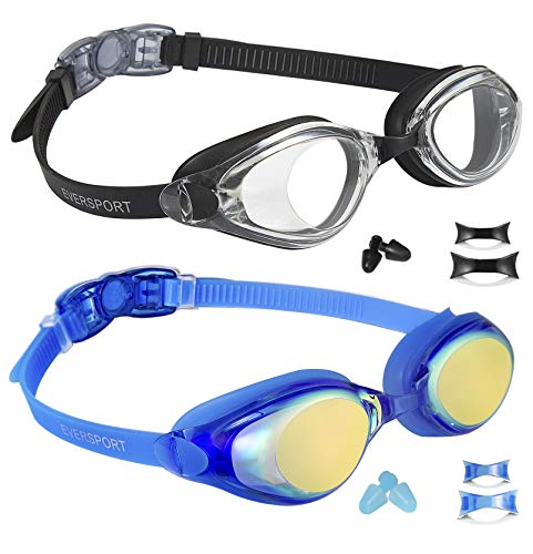 (EverSport Swim Goggles, Pack of 2, Swimming Glasses for Adult Men Women Youth Teenager, Anti-Fog, UV Protection, Shatter-Proof, Mirrored Blue and Black)