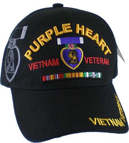 Purple Heart Vietnam Veteran Red Letter Shadow Mens Cap [Black - Adjustable] ()